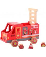 Дървена играчка Jouéco - Пожарна, сортер за форми -1