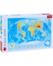 Пъзел Trefl от 1000 части - Физическа карта на света