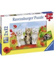 Пъзел Ravensburger от 2 x 12 части - Котешки приключения -1
