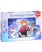 Пъзел Ravensburger от 2 x 24 части - Елза, Анна, Олаф и Свен