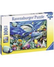 Пъзел Ravensburger от 100 XXL части - Акуловият риф -1