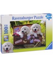 Пъзел Ravensburger от 100 части - Пътуващи кученца