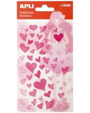 Самозалепващи стикери Apli - Сърца, розови, със стъклен ефект