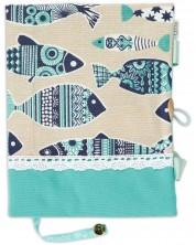 Рокля за книга: Риби, синя основа, дантела (Текстилна подвързия с дръжки и копче) -1