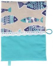 Рокля за книга (Текстилна подвързия с копче): Риби, синя основа, дантела