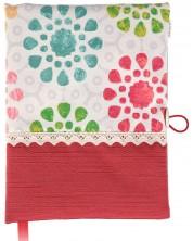 Рокля за книга: Червени и сини цветя (Текстилна подвързия с копче) -1