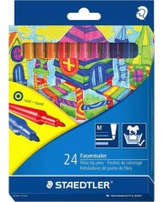 Цветни флумастери Staedtler 325 - 24 цвята, изпиращо се мастило