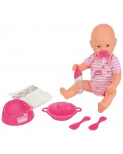 Пишкаща кукла-бебе Simba Toys New Born Baby - С гърне и аксесоари, 38 cm