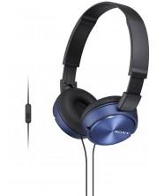 Слушалки с микрофон Sony MDR-ZX310AP - черни/сини -1