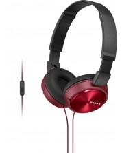 Слушалки с микрофон Sony MDR-ZX310AP - червени