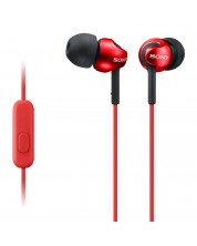 Слушалки с микрофон Sony MDR-EX110AP - червени