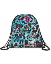 Спортен сак с връзки Cool Pack Spring - Camo Blue Badges