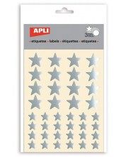 Комплект стикери Apli - Сребърни звездички, блестящи, 3 листа