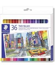 Цветни флумастери Staedtler - 36 цвята, двувърхи -1