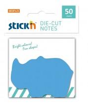 Самозалепващи листчета Stick'n - Носорог, 50 броя, сини