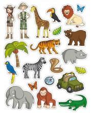 Комплект стикери Apli - Джунглата, 60 броя