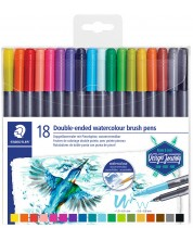 Акварелни флумастери Staedtler - 18 цвята, двувърхи -1