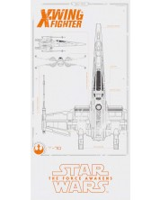 Стъклен Плакат SD Toys Star Wars - Episode 7 X-Wing Blue Print -1