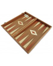 Комплект шах и табла Manopoulos - Махагон с червен борд, 48 x 25 cm
