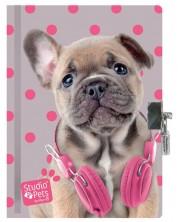 Таен дневник с катинар Paso Studio Pets –  Куче с розови слушалки -1