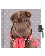 Таен дневник с катинар Paso Studio Pets –  Куче с червени слушалки -1