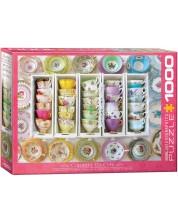 Пъзел Eurographics от 1000 части - Цветни чашки за чай, Алисън Хенли