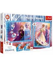 Комплект пъзел и мемо игра Trefl 2 в 1 - Замръзналото кралство 2, Мистериозна земя -1