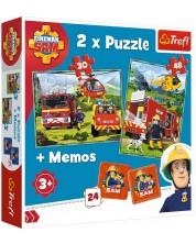 Комплект пъзел и мемо игра Trefl 2 в 1 - Fireman Sam, Пожарникари в действие -1