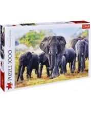 Пъзел Trefl от 1000 части - Африкански слонове