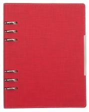 Кожен тефтер-агенда Trend А5 - Червен, с рингове и механизъм -1