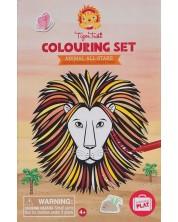 Творчески комплект за оцветяване Tiger Tribe - Царството на животните, със стикери