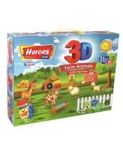 Творчески комплект Heroes - Животните във фермата, натурален моделин