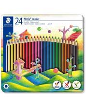 Цветни моливи Staedtler Noris Colour 185 - 24 цвята, в метална кутия -1