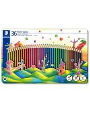 Цветни моливи Staedtler Noris Colour 185 - 36 цвята, в метална кутия -1