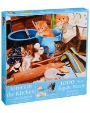Пъзел SunsOut от 1000 части - Котета в кухнята, Джули Баукнехт