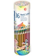 Цветни моливи Staedtler Noris Colour 185 - 36 цвята, в метален тубус -1