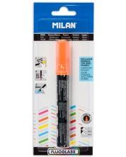 Маркер за стъкло скосен Milan Fluoglass - Оранжево цвят, изтриваем, 2+4 mm -1