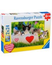 Пъзел Ravensburger от 2 x 24 части - Спящи котета