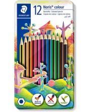 Цветни моливи Staedtler Noris Colour 185 - 12 цвята, в метална кутия -1