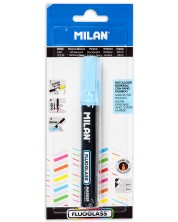 Маркер за стъкло скосен Milan Fluoglass - Син цвят, изтриваем, 2+4 mm