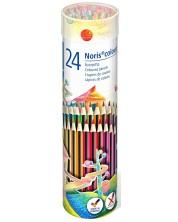 Цветни моливи Staedtler Noris Colour 185 - 24 цвята, в метален тубус