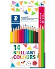 Цветни триъгълни моливи Staedtler Ergosoft 157 - 12 цвята + 2 неонови -1