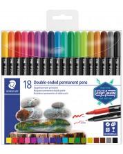 Перманентни маркери Staedtler Desaign Journey - 18 цвята, двувърхи -1