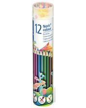 Цветни моливи Staedtler Noris Colour 185 - 12 цвята, в метален тубус -1