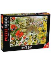 Пъзел Anatolian от 1000 части - Паун в градина, Барбара Бер -1
