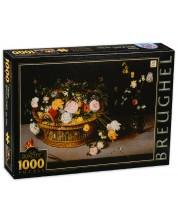 Пъзел D-Toys от 1000 части - Цветя в кошница и ваза, Питер Брьогел -1