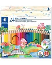 Цветни моливи Staedtler Noris Club 144 - 24 цвята, с гума -1
