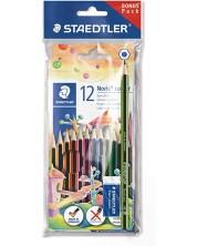Цветни моливи Staedtler Noris Colour 185 - 12 цвята, с графитен молив и гума -1