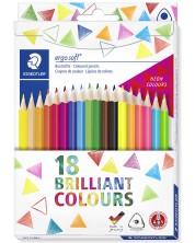 Цветни триъгълни моливи Staedtler Ergosoft 157 - 18 цвята -1