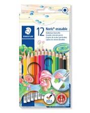 Цветни моливи Staedtler Noris Club 144 - 12 цвята, с гума -1